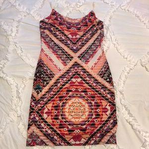 Tribal Print Island Style Pink Bodycon Dress